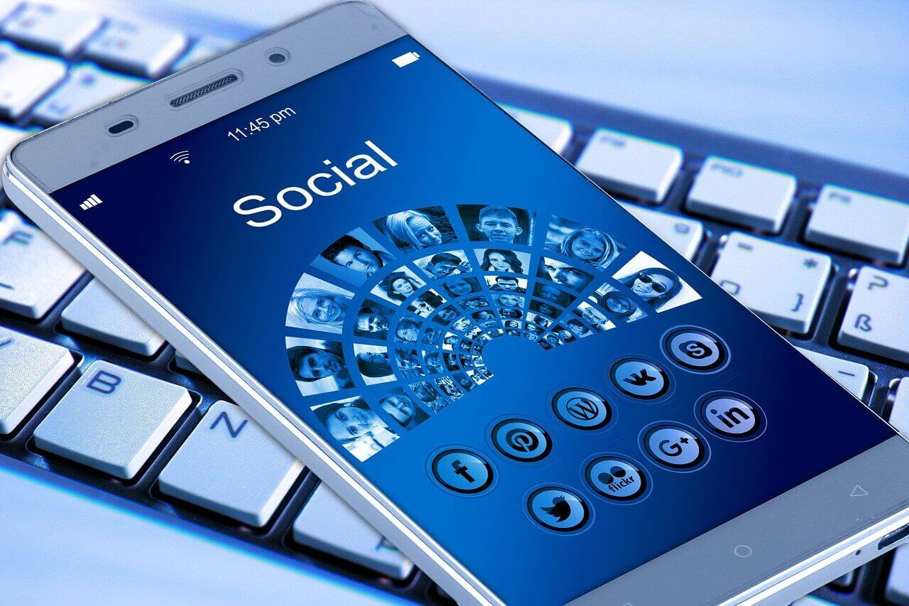 Image of a mobile phone screen that has the word social